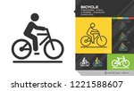 vector isolated bicycle black... | Shutterstock .eps vector #1221588607