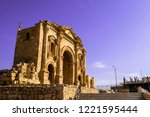 triumphal arch of hadrian in... | Shutterstock . vector #1221595444
