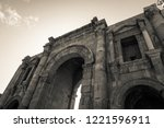 black and white triumphal arch... | Shutterstock . vector #1221596911