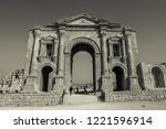 black and white triumphal arch... | Shutterstock . vector #1221596914