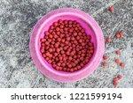 dog food in bowl on floor top... | Shutterstock . vector #1221599194