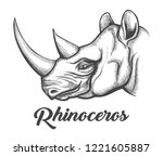 head of rhinoceros drawn in... | Shutterstock .eps vector #1221605887