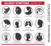 signs and symptoms of allergies.... | Shutterstock .eps vector #1221607621