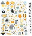 vector hygge elements set on... | Shutterstock .eps vector #1221609781