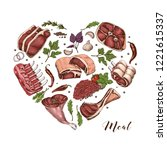 isolated meat heart with... | Shutterstock .eps vector #1221615337
