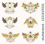 vintage heraldry design... | Shutterstock .eps vector #1221619231