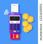 payment terminal machine with... | Shutterstock .eps vector #1221620551