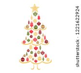 christmas tree  sketch drawing...   Shutterstock .eps vector #1221622924