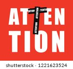 red attention tape forming... | Shutterstock .eps vector #1221623524