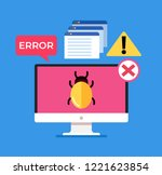 laptop computer pc with virus... | Shutterstock .eps vector #1221623854