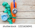 top view carrot with blue... | Shutterstock . vector #1221626041