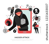 hacker attack composition with...   Shutterstock .eps vector #1221633037