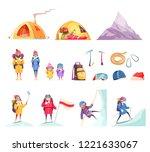 mountaineering cartoon set with ... | Shutterstock .eps vector #1221633067