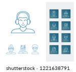 person icon set and old woman...