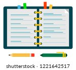 open diary with color bookmarks ... | Shutterstock .eps vector #1221642517