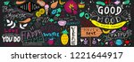 chalkboard doodle food banner.... | Shutterstock .eps vector #1221644917