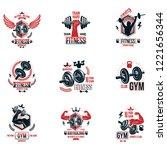 set of vector bodybuilding... | Shutterstock .eps vector #1221656344