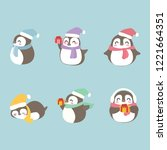 cute christmas penguins set.... | Shutterstock .eps vector #1221664351