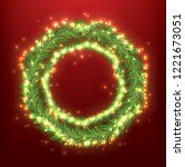 christmas wreath with light... | Shutterstock .eps vector #1221673051