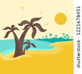 tropical island with palms ... | Shutterstock .eps vector #1221678451