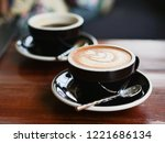 coffee latte art in coffee shop ... | Shutterstock . vector #1221686134