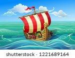 drakkar. ship of vikings.... | Shutterstock .eps vector #1221689164