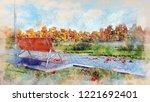 decorative watercolor sketch of ... | Shutterstock . vector #1221692401