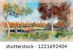 watercolor sketch of empty... | Shutterstock . vector #1221692404