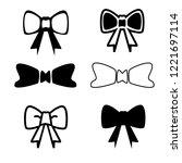 set of bow ribbon vector icon...