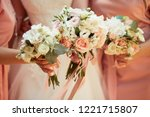 close up of bouquet of pink and ... | Shutterstock . vector #1221715807