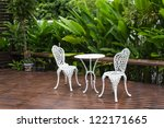 Green Garden And White Table Set