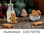 christmas gingerbread cookie... | Shutterstock . vector #1221723751
