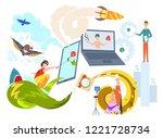 blogging concept illustration...   Shutterstock .eps vector #1221728734