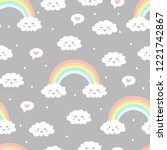 cute clouds with rainbow on... | Shutterstock .eps vector #1221742867