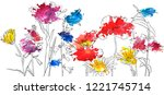 vector drawing flowers with... | Shutterstock .eps vector #1221745714
