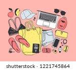 hand drawn fashion illustration ...   Shutterstock .eps vector #1221745864