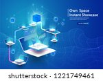 concept of big data processing  ... | Shutterstock .eps vector #1221749461