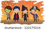 children dressed in halloween... | Shutterstock .eps vector #122175214