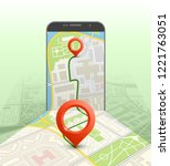 city map route navigation... | Shutterstock .eps vector #1221763051