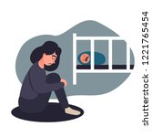 depressed young woman. young ... | Shutterstock .eps vector #1221765454