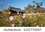 cosmos flower in front of... | Shutterstock . vector #1221774547
