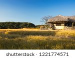 beautiful autumn rice field and ... | Shutterstock . vector #1221774571