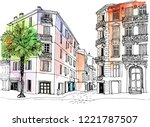old city street in hand drawn... | Shutterstock .eps vector #1221787507