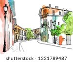 Old City Street In Hand Drawn...