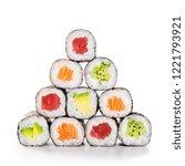 fresh hosomaki in a pyramid... | Shutterstock . vector #1221793921