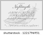 nightingale. handdrawn... | Shutterstock .eps vector #1221796951