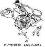 cowboy skeleton riding a... | Shutterstock .eps vector #1221802051