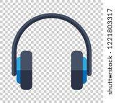 headphone headset icon in flat... | Shutterstock .eps vector #1221803317