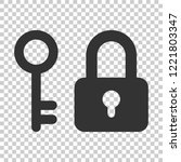 key with padlock icon in flat... | Shutterstock .eps vector #1221803347