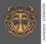illustration of grizzly head... | Shutterstock .eps vector #1221814234